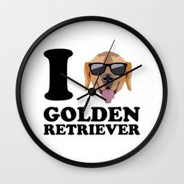 I Love Golden Retriever modern v1 Wall Clock