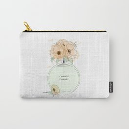 Round Green Perfume with Flowers Carry-All Pouch