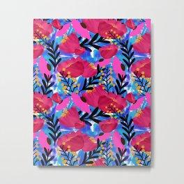 Vibrant Floral Wallpaper Metal Print