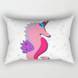 Cute unicorn seahorse fuck off Rectangular Pillow