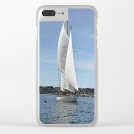Schooner Martha Sailboat Sailing Boat Pacific Northwest Port Townsend Washington Regatta Dolphin Clear iPhone Case