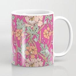 Fuchsia Summer color with a William Morris Twist -  Coffee Mug