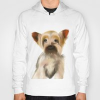yorkie Hoodies featuring Yorkie Puppy on White  by barefoot art online