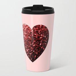 Red Glitter sparkles Heart Travel Mug