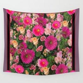PINK FLOWERS GARDEN PUCE ART PATTERNS Wall Tapestry