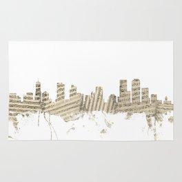 Denver Colorado Skyline Sheet Music Cityscape Rug