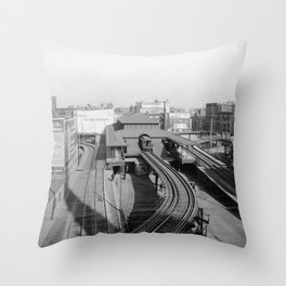 Dudley Station on the Boston Elevated Railway 1904 Throw Pillow