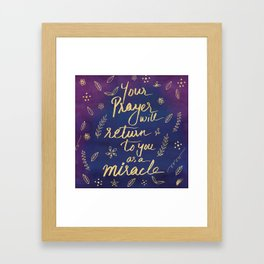 Purple Blue Typography Prayer Miracle Faith Spirituality Quote Watercolor Motivational Art Print Framed Art Print