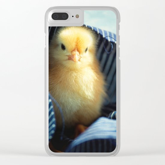 Sweet Chick under the blue towel Clear iPhone Case