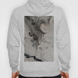 Black and White Abstract Painting - Fluid Pour - Silver Metallic Hoody