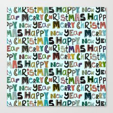 palest aqua merry christmas and happy new year Canvas Print