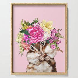 Flower Crown Squirrel in Pink Serving Tray