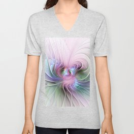 Temperament, Colorful Abstract Fractals Art Unisex V-Neck