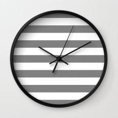 Horizontal Stripes (Gray/White) Wall Clock