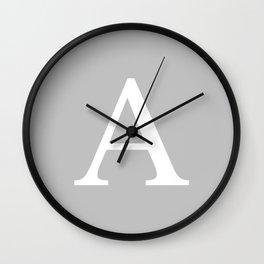 Silver Gray Basic Monogram A Wall Clock