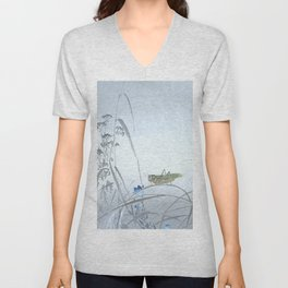 Grasshopper and the Blue Flowers - Vintage Japanese Woodblock Print Art Unisex V-Neck