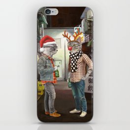 A Cats Night Out Christmas edition iPhone Skin