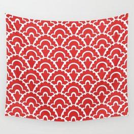 Fan Pattern Red 118 Wall Tapestry