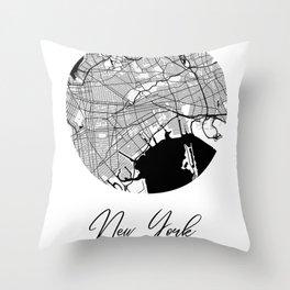 New York Area City Map, New York Circle City Maps Print, New York Black Water City Maps Throw Pillow