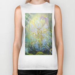 Magical Nebias forest original oil painting, Fairy tale forest painting, Fairies and dragon oil on c Biker Tank