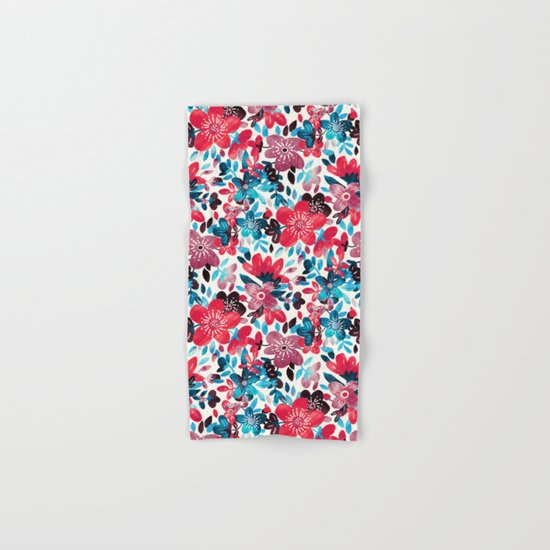 Happy Red Flower Collage Hand & Bath Towel