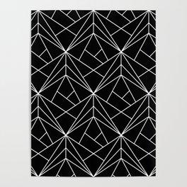 White Geometric Pattern on Black Background Poster