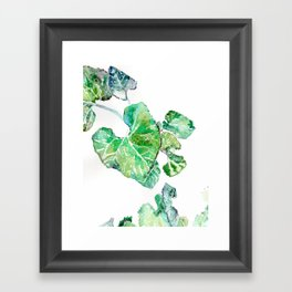 Hand painted watercolor Heart leaves Framed Art Print