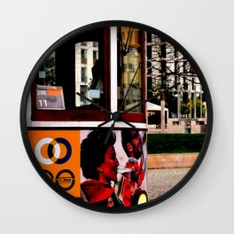 View of trolleybus Wall Clock