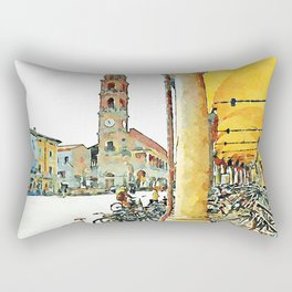 Faenza: bicycles in the arcades Rectangular Pillow