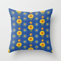 ukraine Throw Pillows featuring Sunflowers of Ukraine by rusanovska