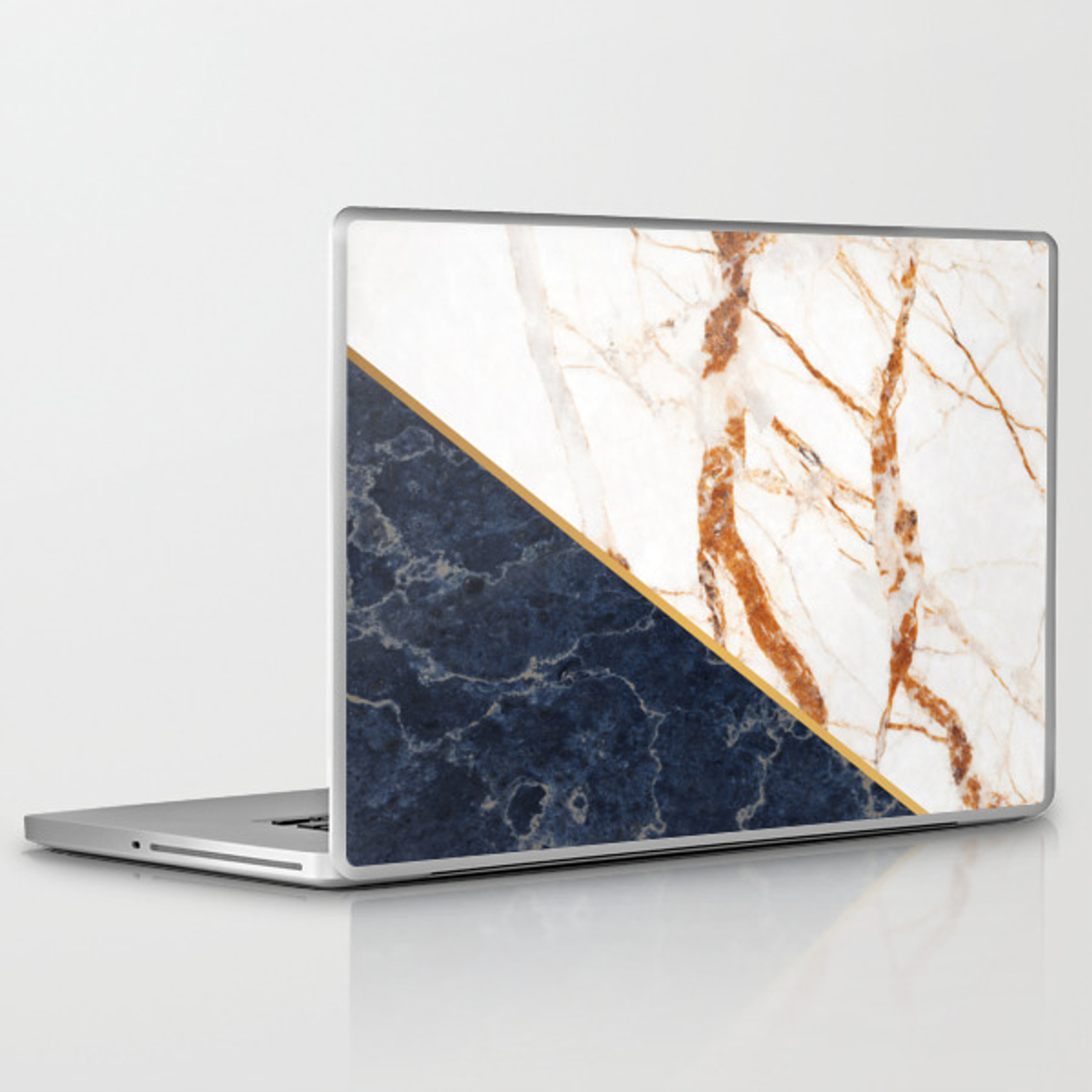 Classy Elegant White Blue Gold Marble Laptop & iPad Skin by  staypositivedesign