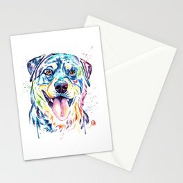 Rottweiler Pet Portrait Colourful Watercolor Painting Stationery Cards
