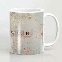 bonjour Mugs featuring Bonjour by Christine Hall