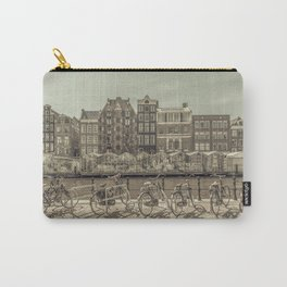 AMSTERDAM Singel Canal with Flower Market   urban vintage style Carry-All Pouch