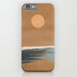 Sunset with minimal shapes on kraft paper iPhone Case