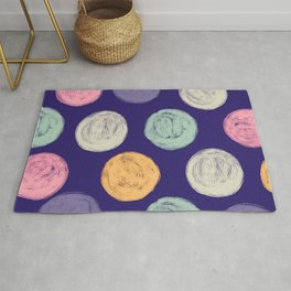 Pink, Lilac & Aqua Finger Painted Circles Pattern Rug