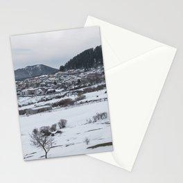 Snowy landscape from Sicily Stationery Cards