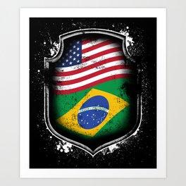 Brazilian American Flag Art Print