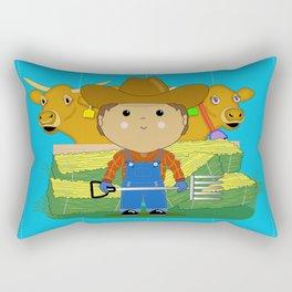 Rancher Dude With Cattle (Kawaii Style) Rectangular Pillow