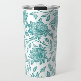 Modern vintage mint blue white elegant floral Travel Mug