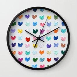 Polka Daub Hearts Wall Clock
