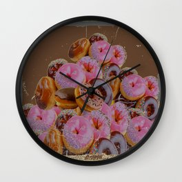 SHABBY CHIC ANTIQUE PHOTO PINK DONUTS Wall Clock
