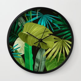 Tropical Leaf Pattern Wall Clock