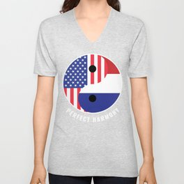 USA Holland Ying Yang Heritage for Proud Dutch American, Biracial American Roots, Culture, Unisex V-Neck