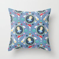 alice wonderland Throw Pillows featuring Wonderland by Emily Golden