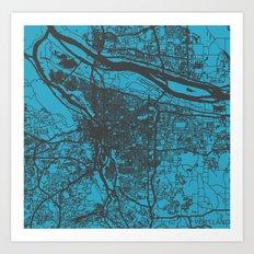 Portland map blue Art Print