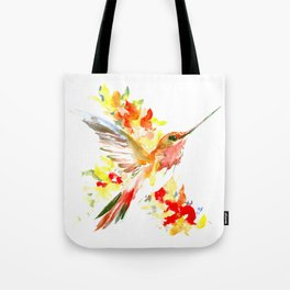 Hummingbird and Flame Colored Flowers Tote Bag