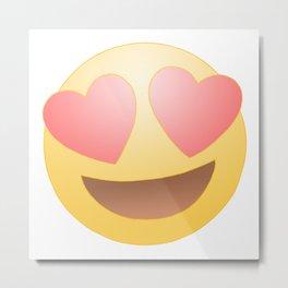 Emoji in Love Metal Print