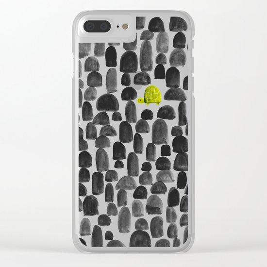 Turtle in Stone Garden Clear iPhone Case