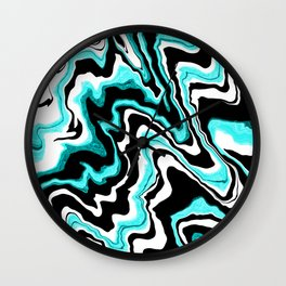 Blue liquified,marble effect decor Wall Clock